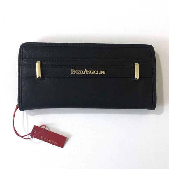 Enzo Angiolini Handbags - Enzo Angiolini Black Vegan Leather Wallet